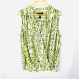 Inc sleeveless loose flowy snakeskin print blouse